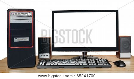 Desktop Computer With Widescreen Display On Table