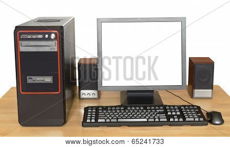 Black Desktop Computer On Wooden Table