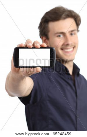 Handsome Young Man Showing A Blank Smart Phone Display