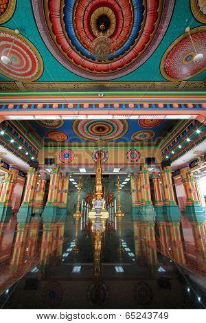 KUALA LUMPUR, MALAYSIA - AUGUST 2013 : The green Garbagraham (Sanctum Sanctorum) inside the Main Prayer Hall at Sri Mahamariamman Indian Temple, Kuala Lumpur, Malaysia on August 11, 2013.