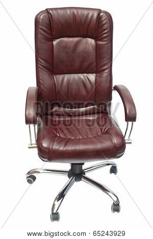 Leather Upholstered Office Chair Of Claret Color