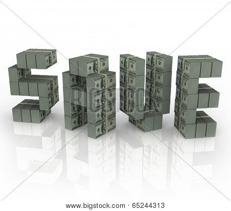 Save word in cash bundles stacks accumulating wealth saving money