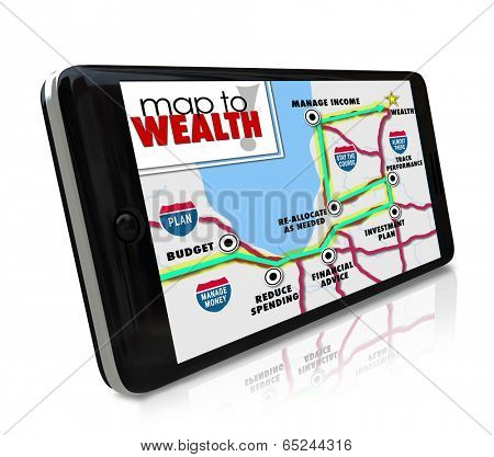 Map to Wealth navigation on GPS global positioning system on phone or other smart mobile device to lead you to earning more money, income, revenue or profits in investment or career