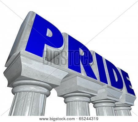 Pride word on stone marble columns proud feeling emotion