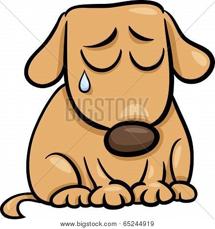 Sad Dog Cartoon Illustration