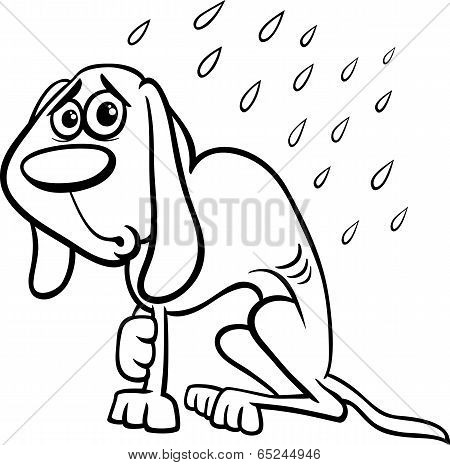 Homeless Dog Cartoon Coloring Page