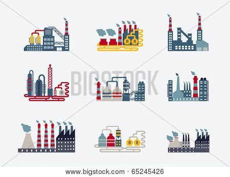 Industrial buildings icons