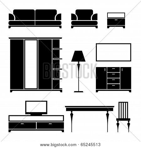 Furniture black silhouette on a white background