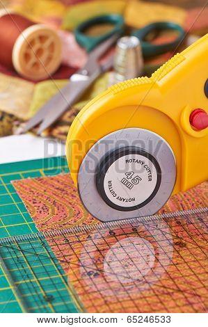Rotary Cutter Cuts Fabric
