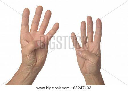 Hand sign showing four