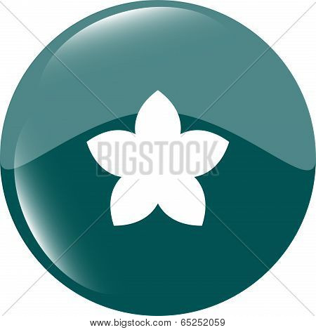 Flower On Web Icon, Web Button Isolated On White Background