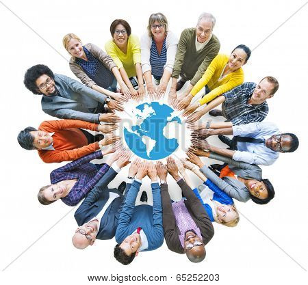 Multiethnic People Forming Circle and Globe