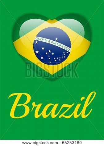 Brazil 2014 Heart With Brazilian Flag