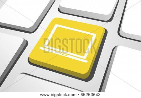 Vector of laptop icon on computer keyboard.