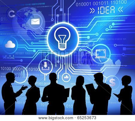 Technology and idea themed background with silhouettes of business people.
