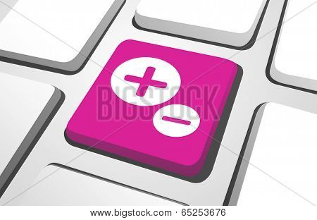 Close-up of pink plus and minus on a keyboard button.