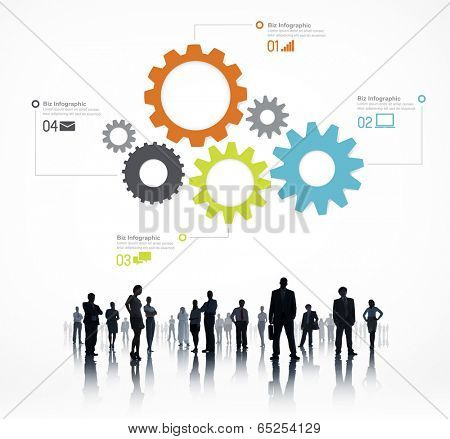 Sillouette of Global Business People Infographic