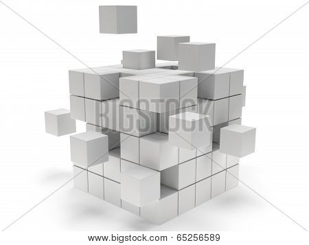 Cubes block. Assembling concept. On white.