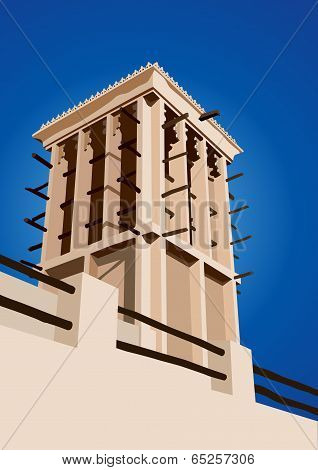 Historical Wind Tower Vector Illustration Dubai, United Arab Emirates