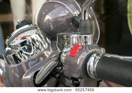 Scooter handlebar closeup