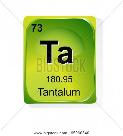 Tantalum chemical element with atomic number, symbol and weight