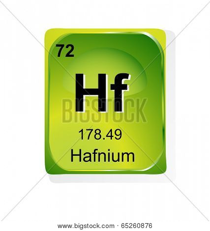 Hafnium chemical element with atomic number, symbol and weight