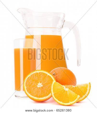 Orange fruit juice in glass jug isolated on white background cutout