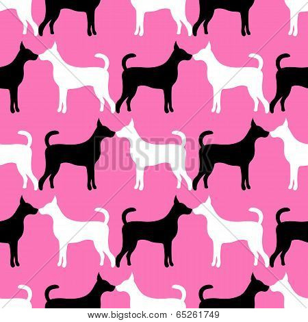 Animal seamless vector pattern of love dog silhouettes. Endless