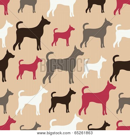 Animal seamless vector pattern of dog silhouettes. Endless textu
