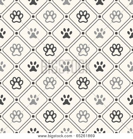 Seamless animal pattern of paw footprint in frame and polka dot.