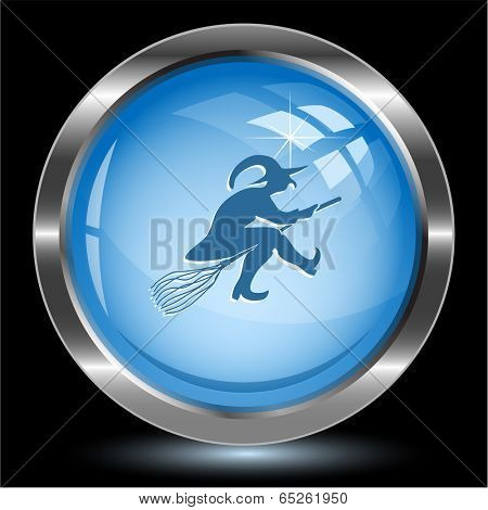 Witch. Internet button. Vector illustration.