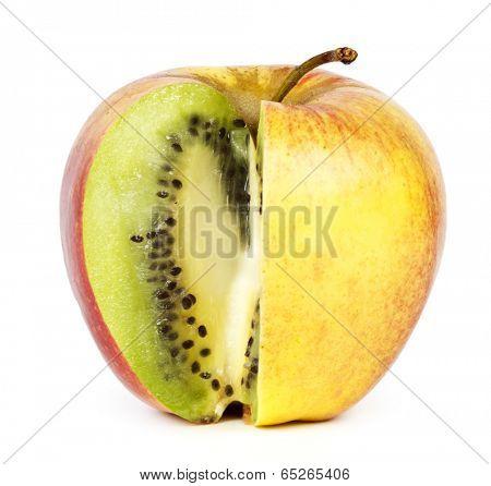 Kiwi in apple. Modification concept.