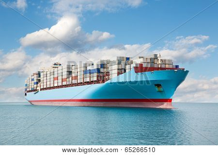 Large container carrier is at sea.