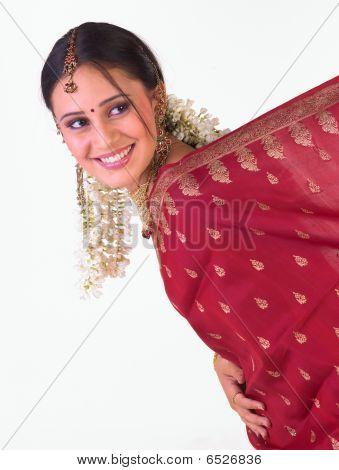 girl smiling with nice sari border