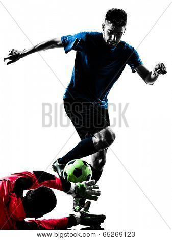 two  soccer player goalkeeper men competition in silhouette isolated white background