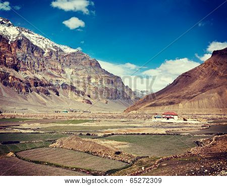 Vintage retro effect filtered hipster style travel image of Spiti Valley. Himachal Pradesh, India