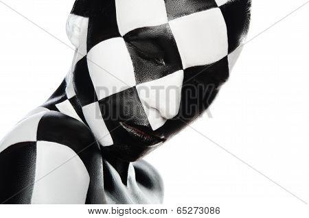 Portrait Of Woman In A Checkerboard