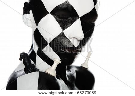 Portrait Of  Woman With Chess Visage And Pieces