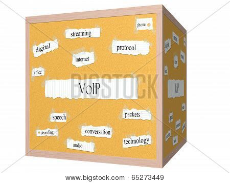 Voip 3D Cube Corkboard Word Concept