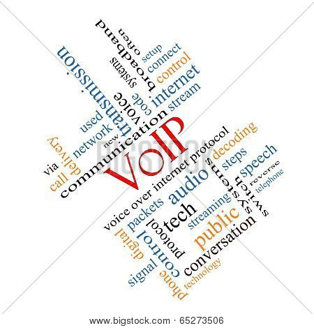 Voip Word Cloud Concept Angled