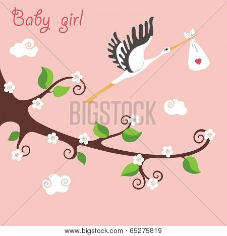 Cute Cartoon Flowering Branch.flying Stork With Newborn Baby-girl