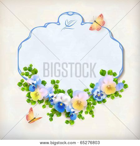 Vector Floral Vintage Pansy Flower Card