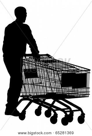 Working out of store with a cart on a white background