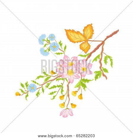 Twig Shrub Whit Spring Flowers