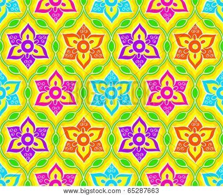 Seamless floral indian Rangoli pattern