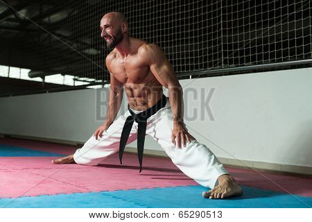 Karate Man In A Kimono Limbering Up