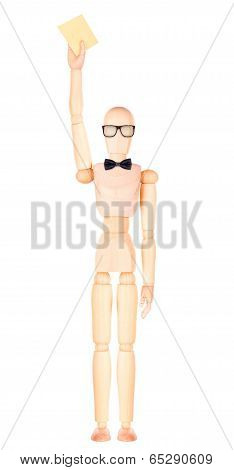 wooden Dummy with envelope
