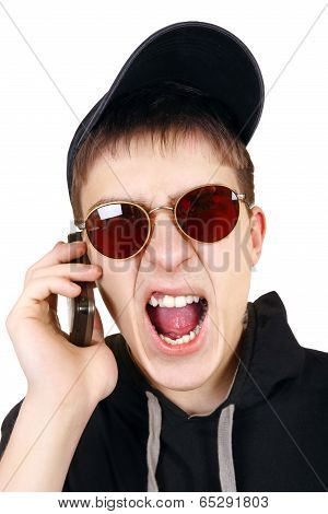 Angry Teenager With Cellphone
