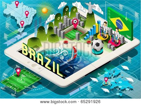 Isometric Infographic Of Brazil On Tablet