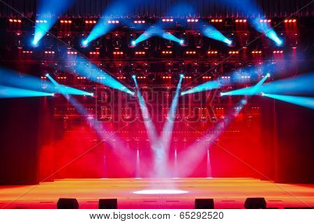 Illuminated Empty Theater Stage With Smoke